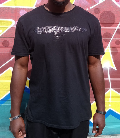 TE Banner Black on Black Foil T-shirt Men's