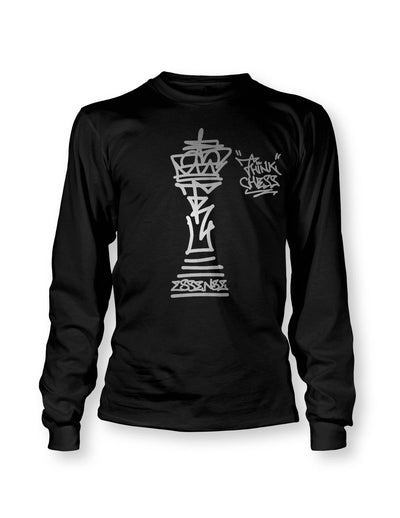 Think Chess King Piece Silver LS T-Shirt
