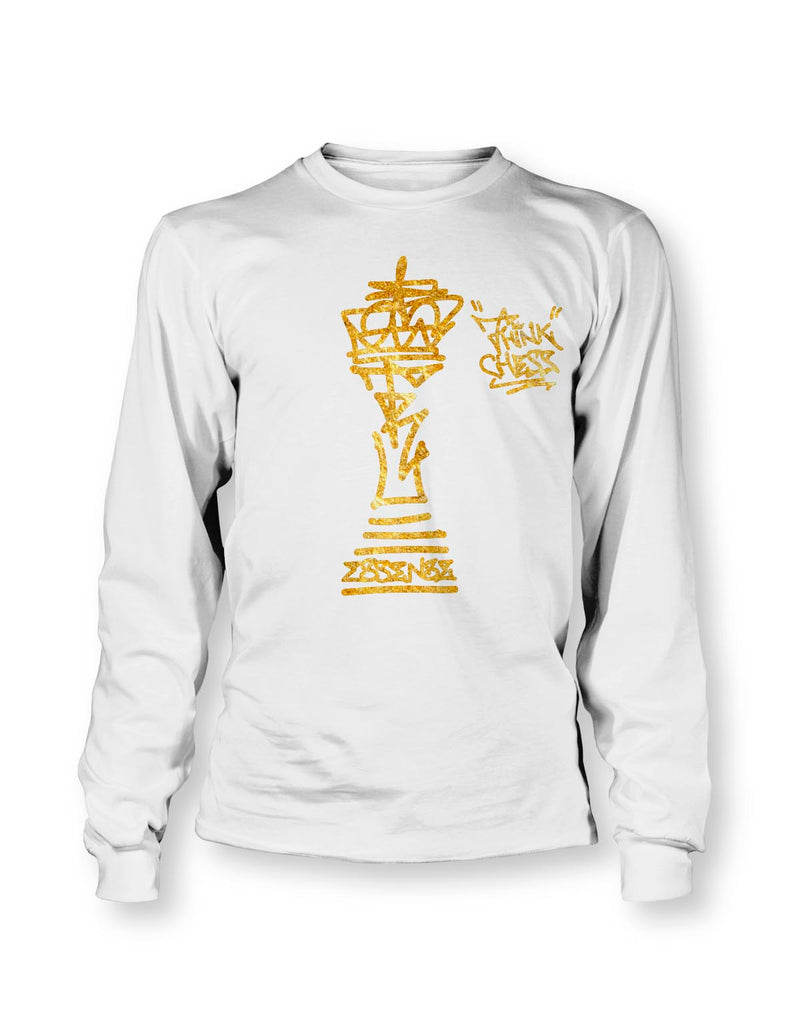Think Chess King Piece Gold LS T-Shirt