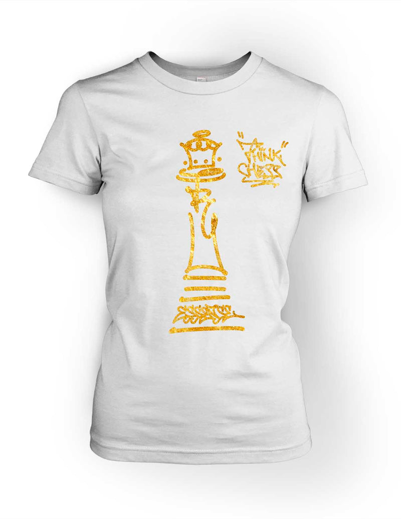 Think Chess Queen Piece Tee Gold