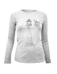 Think Chess Queen Piece LS Tee Silver