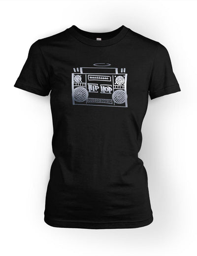 Hip Hop Boombox Vol.1 Womens Tee Silver