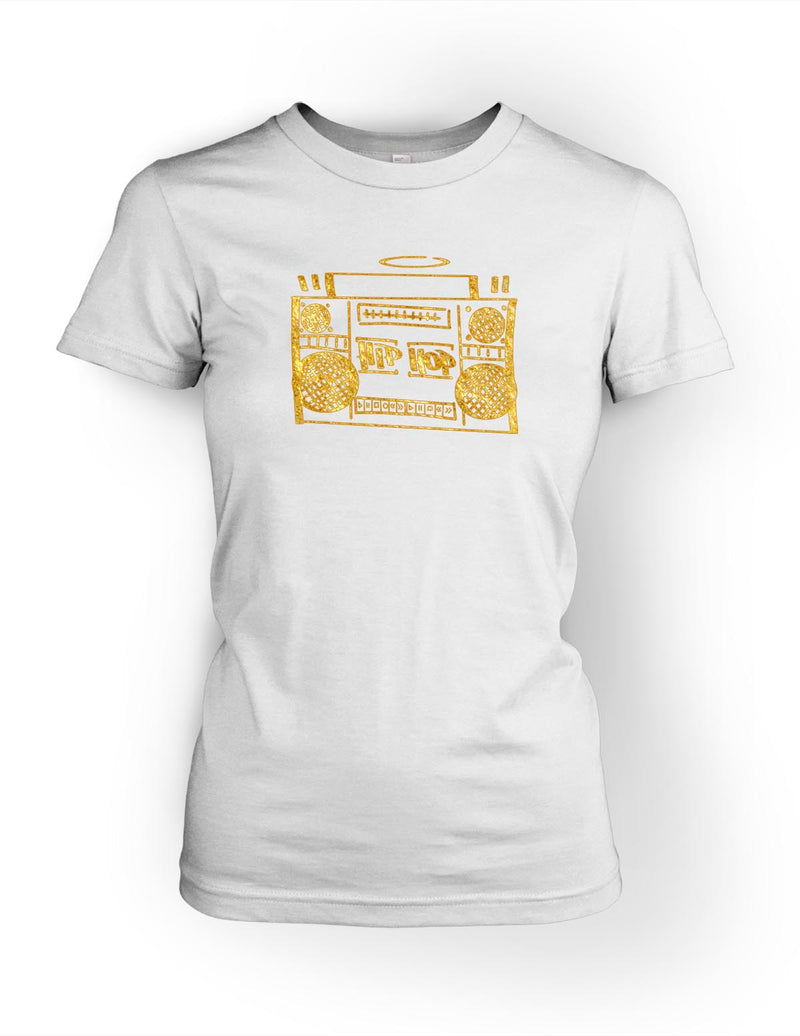Hip Hop Boombox Vol.1 Womens Tee Gold