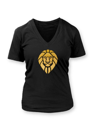 Golden Lionheart Women's Vneck T-shirt