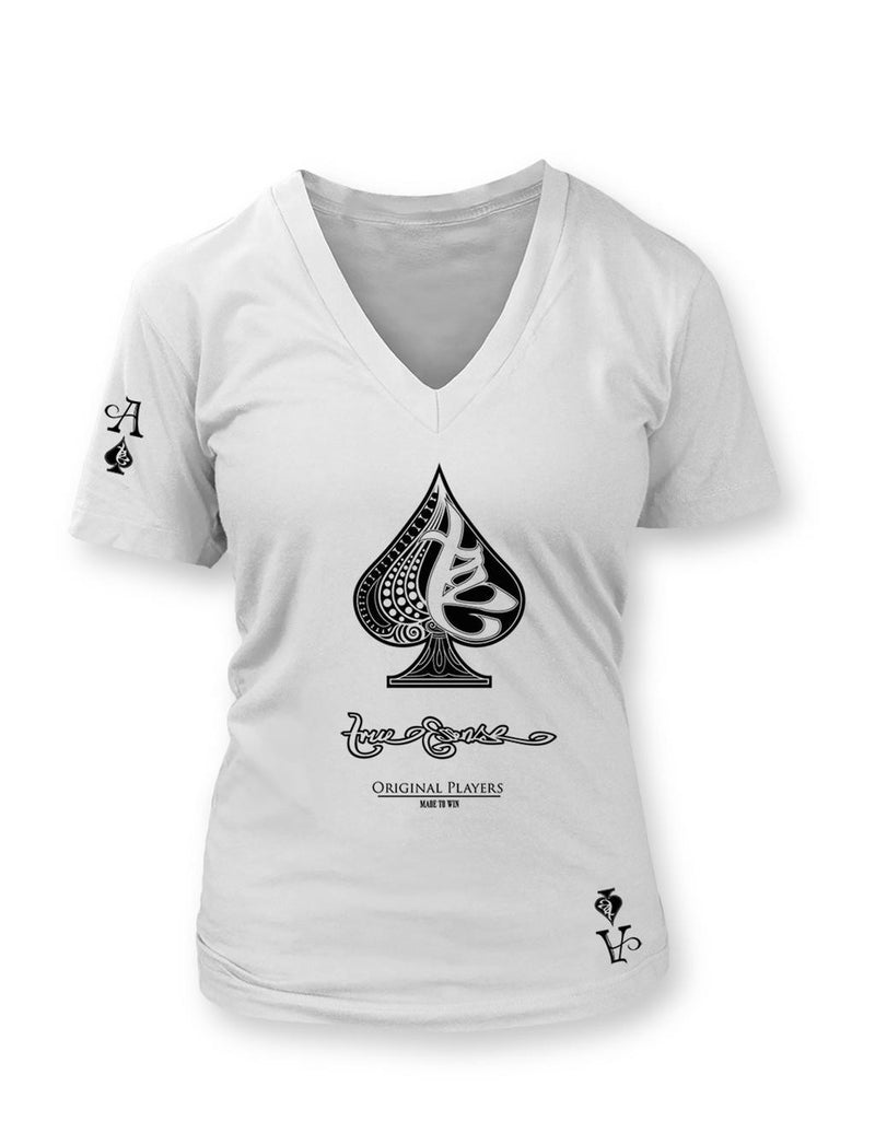 True Ace White Women's Vneck T-shirt
