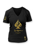 True Ace Black & Gold -Women's Vneck Tee