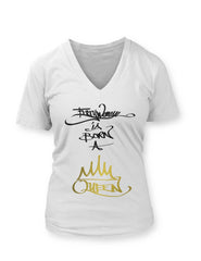 EWBQ White - Women's VNeck T-Shirt