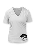 Bonsai Women's White Vneck T-shirt