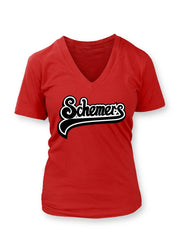 Schemers Red Women's Vneck T-shirt