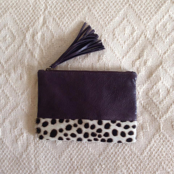 Elise Leather Pouch- Cheetah Cowhide/Dark Brown