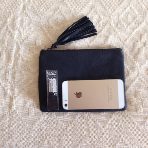 Elise Leather Pouch- Black Cowhide/Black