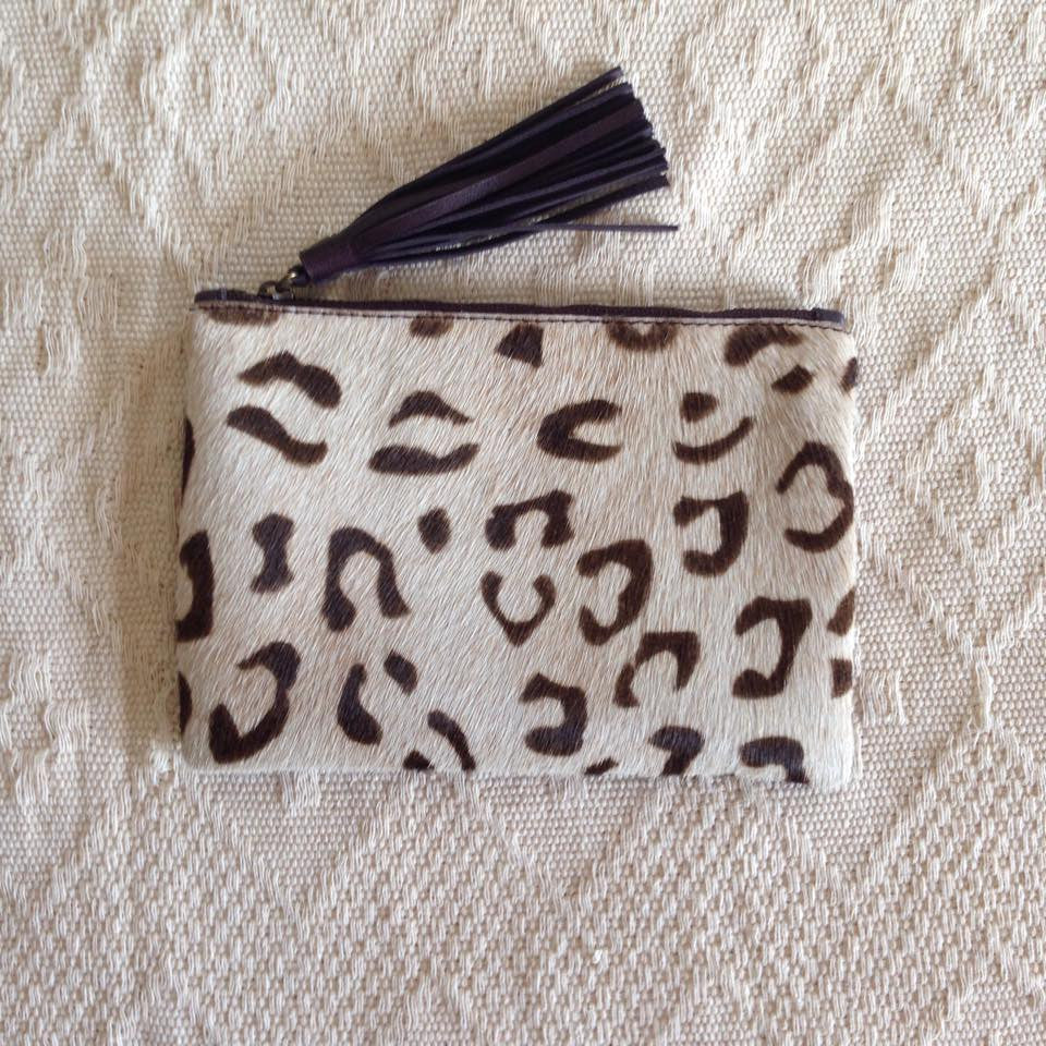 Elise Leather Pouch- Leopard Cowhide/Dark Brown