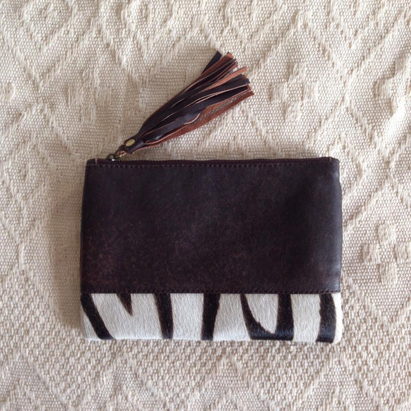 Elise Leather Pouch- Zebra Cowhide/Vintage Brown