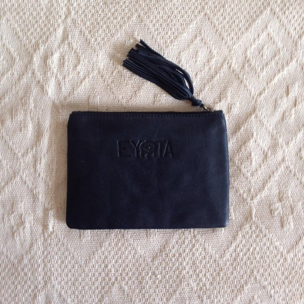Elise Leather Pouch- Black