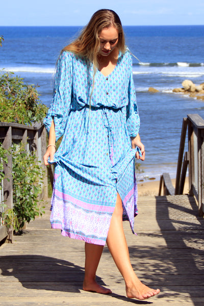 Gypsy Duster Dress Aqua
