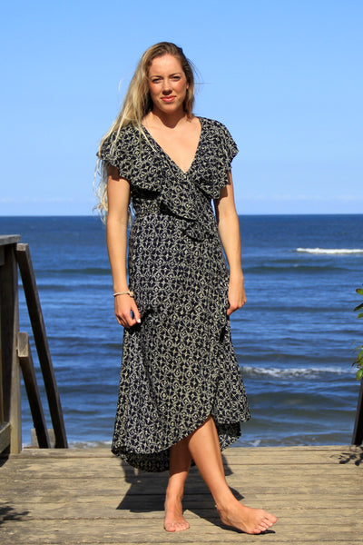Flamingo Wrap Dress Black Jewel
