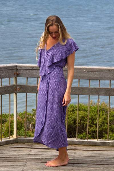 Flamingo Wrap Dress Amethyst Jewel