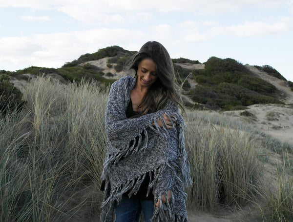 Hooded Wrap Poncho- Grey Marle
