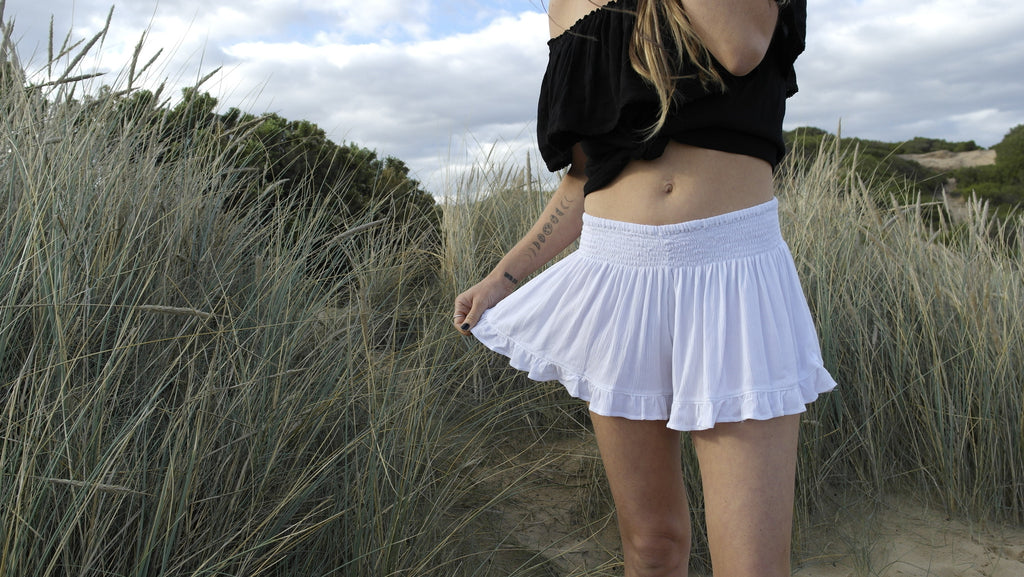Flower Child Shorts- White