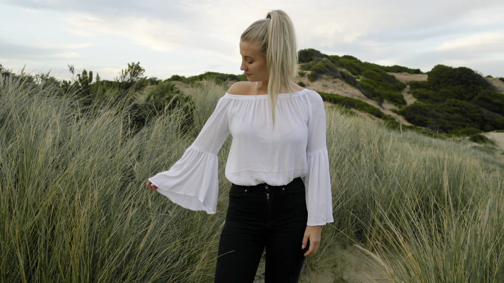 Caitie Bell Sleeve Top- White