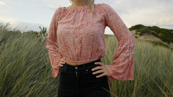 Caitie Bell Sleeve Top- Faded Pink