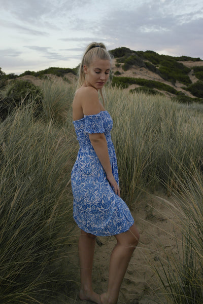 Wild Spirit Dress Short- Delft Blue