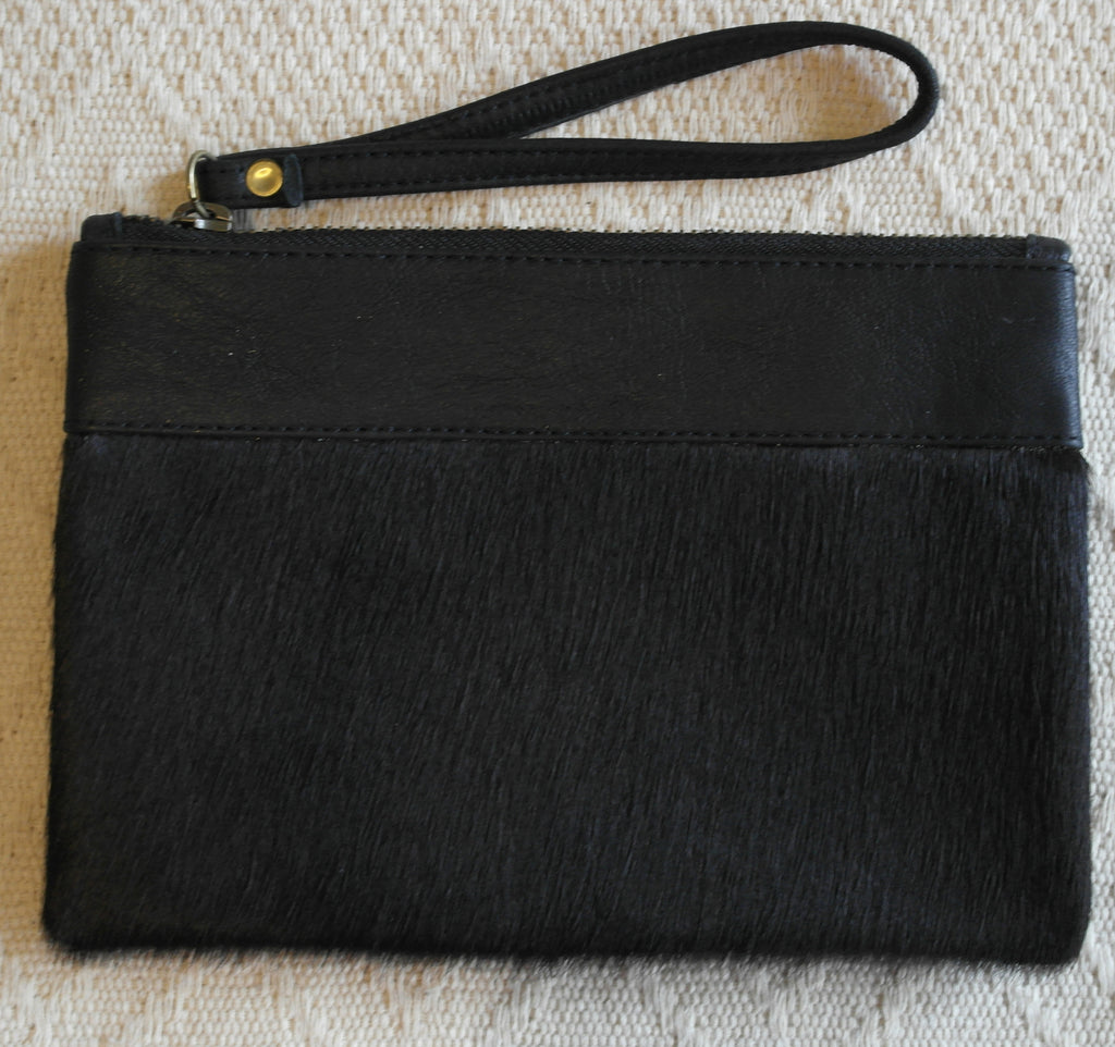 Emily Leather Clutch- Black Cowhide/Black