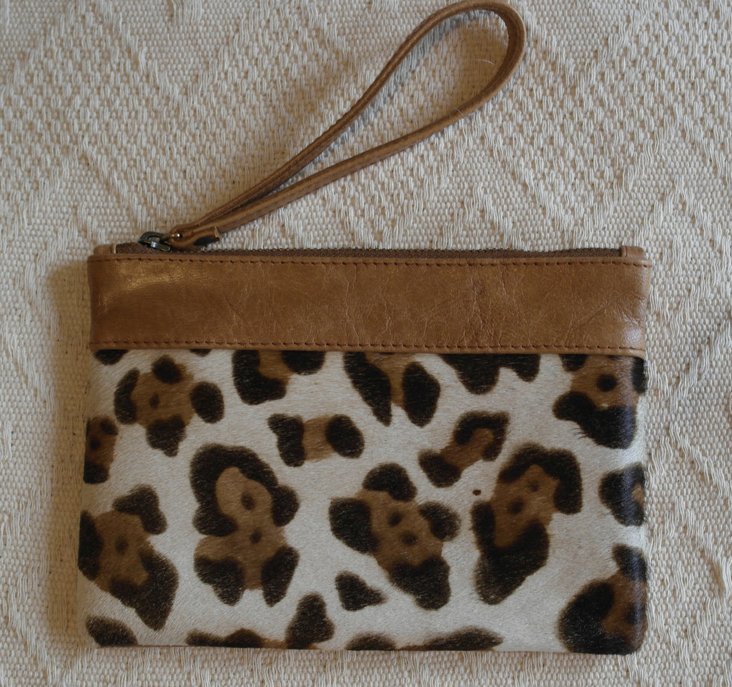 Emily Leather Clutch- Leopard Cowhide/Tan