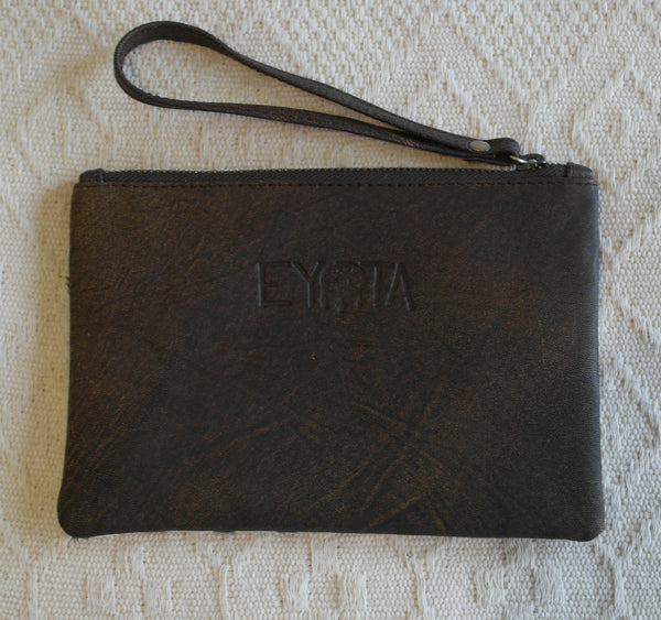 Emily Leather Clutch- Zebra Cowhide/Vintage Brown
