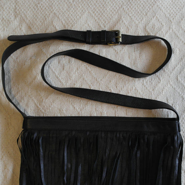 Trudy Slouch Fringe Bag- Black