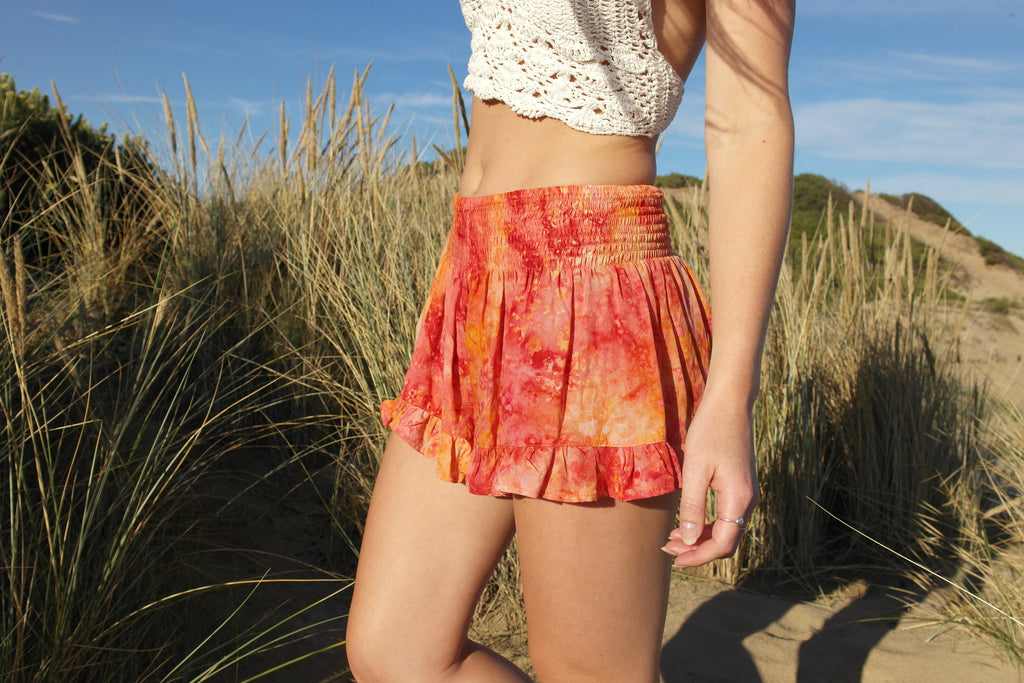 Flower Child Shorts- Fiery Orange