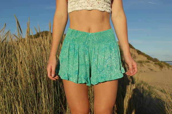 Flower Child Shorts- Aquamarine