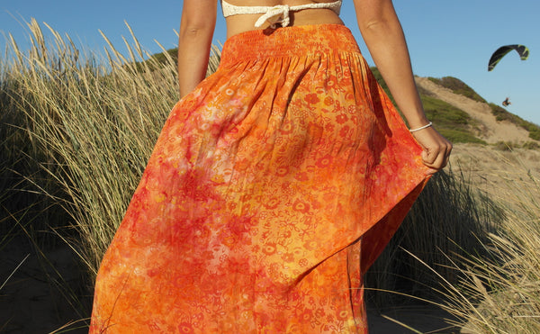 Bohemian Skirt- Fiery Orange