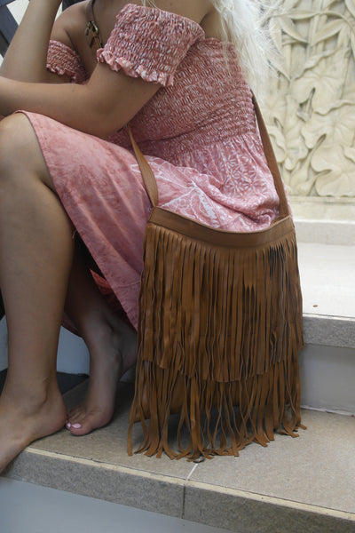 Trudy Slouch Fringe Bag- Vintage Brown