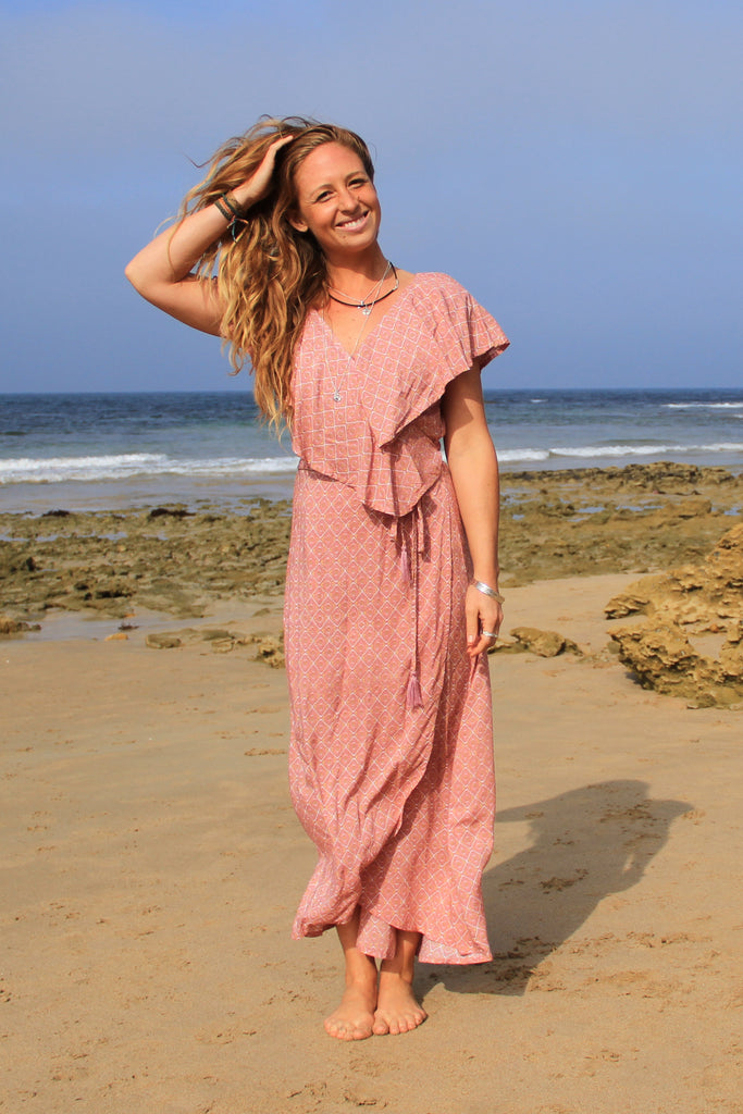 Flamingo Wrap Dress Rose Quartz Jewel