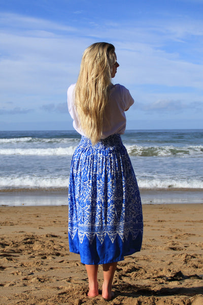 Bohemian Skirt- Delft Blue