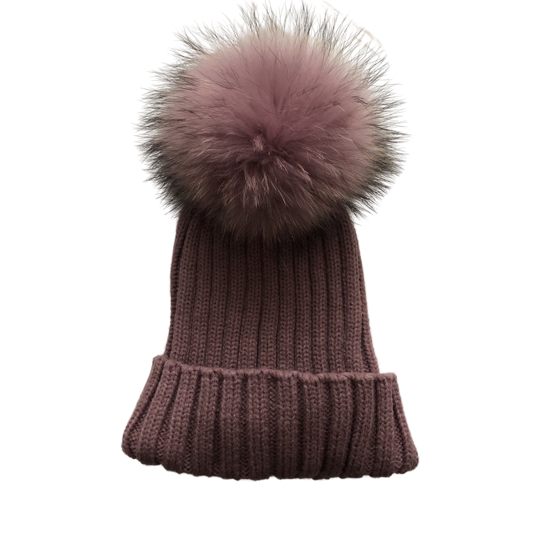 Winter Ribbed Pullover Beanie with Pom Pom