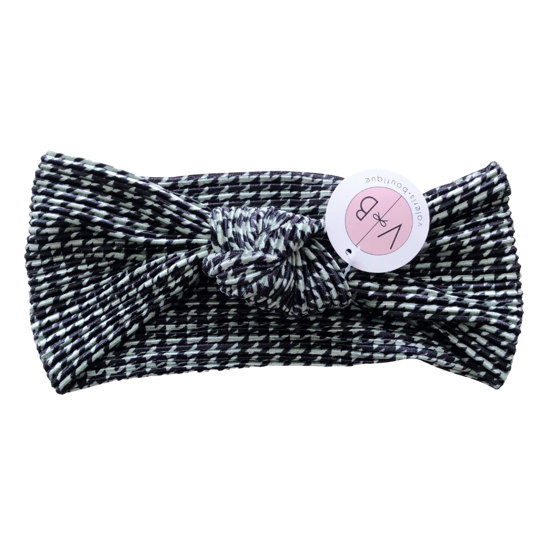 Houndstooth Cozy Top Knot Headband