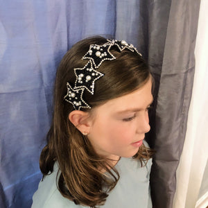 Brielle Black & Pearl Star Girls Headband