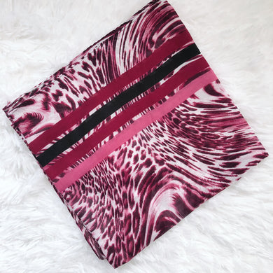 Pink Leopard Square Scarf with Stripes