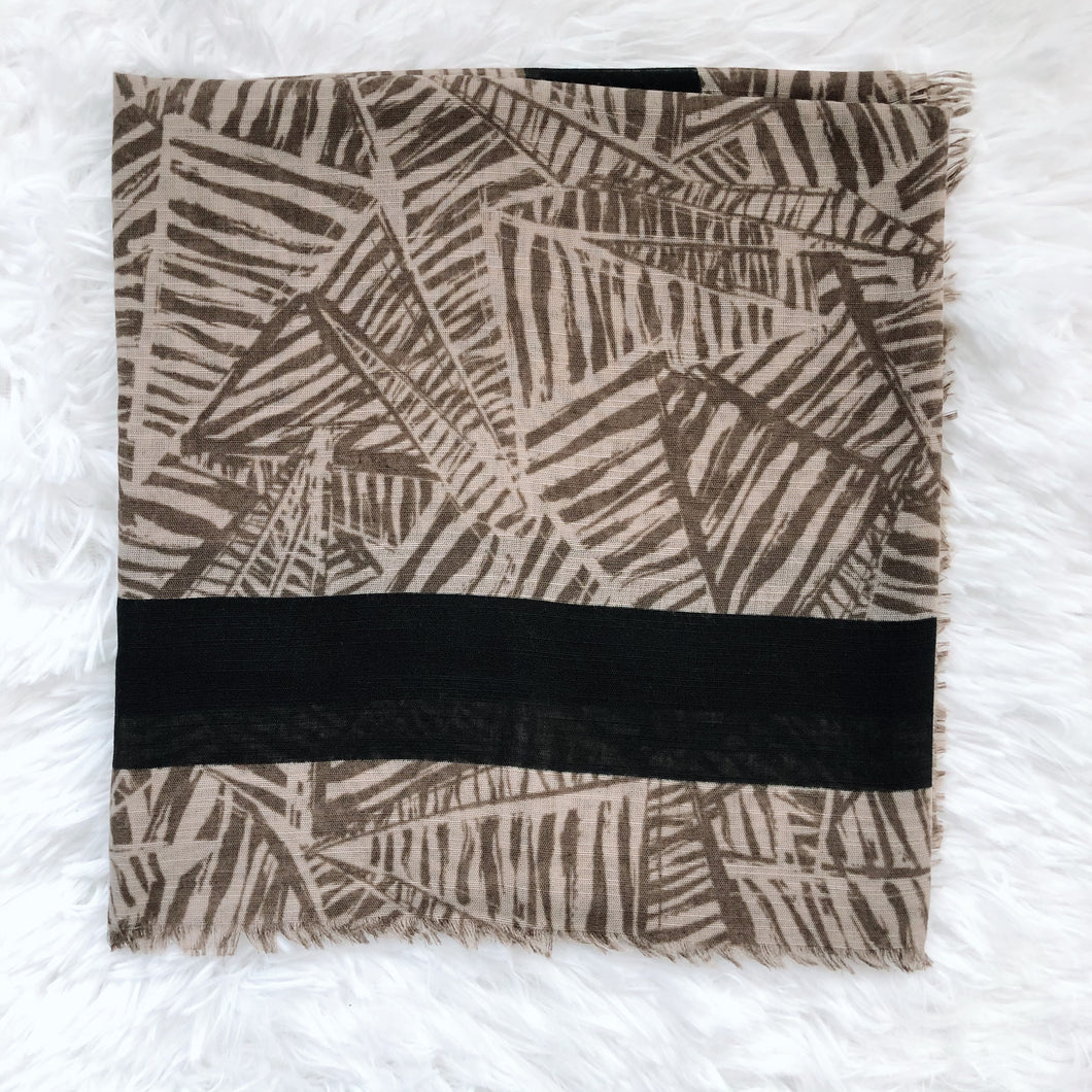 Neutral Geometric Square Scarf