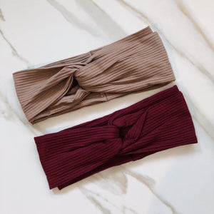 VB Solid Turban Ribbed Headband