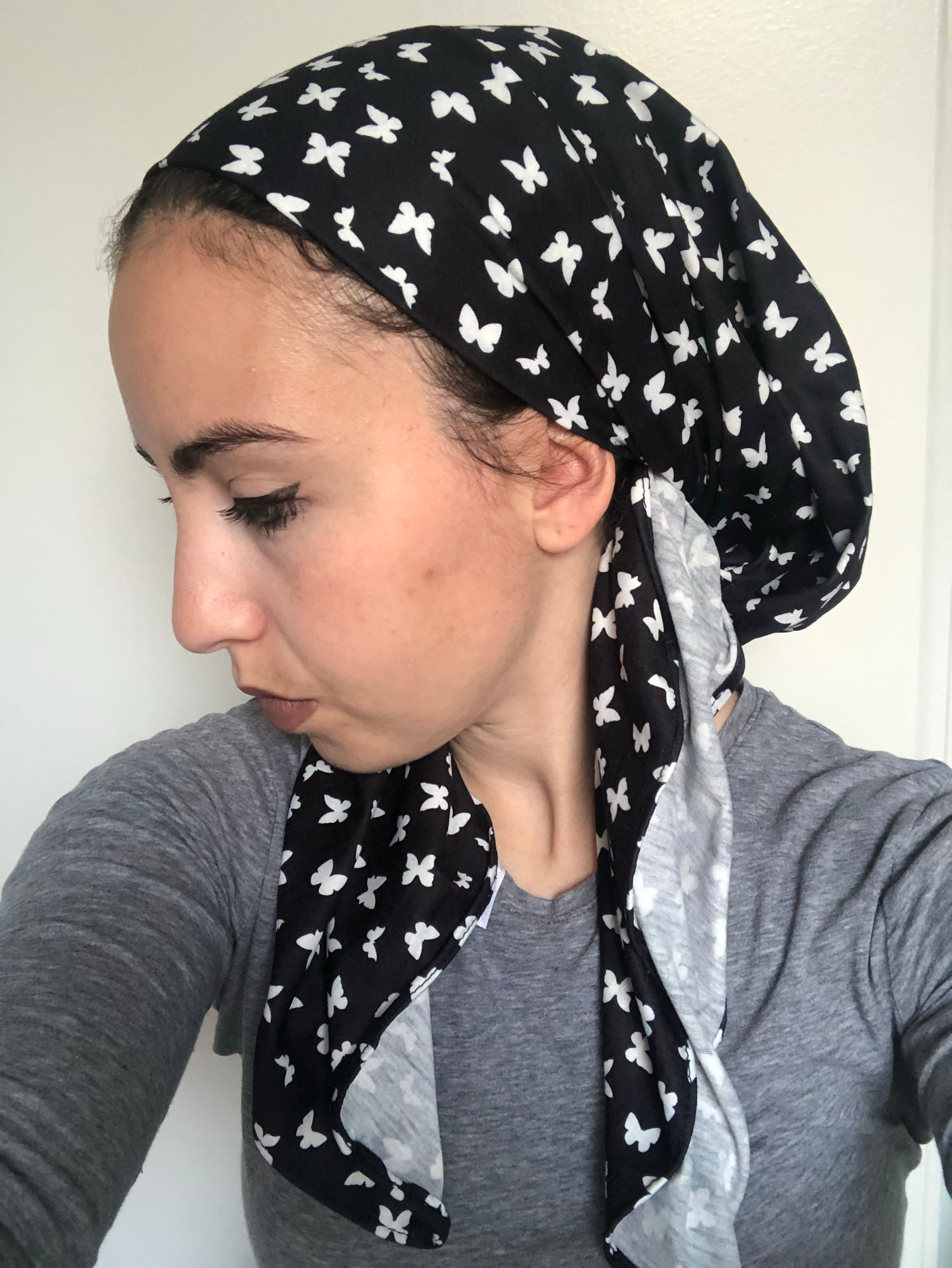 VB Signature Butterfly Pattern Cotton Headscarf
