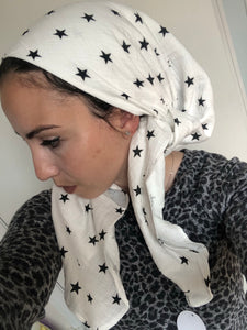 Large Black Star Headscarf