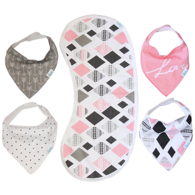 Bandana Bib Set Pink/Grey