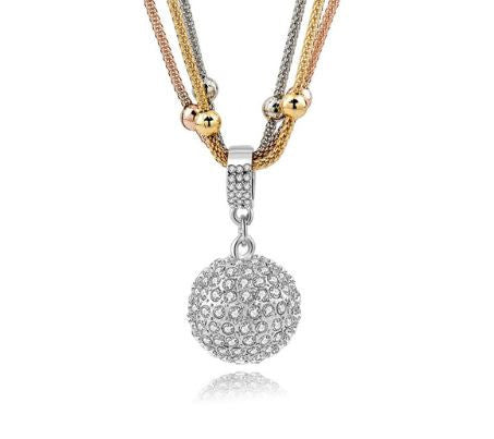 Rhinestone ball pendant gold plated long chain buyoncloud rhinestone ball pendant gold plated long chain aloadofball Image collections