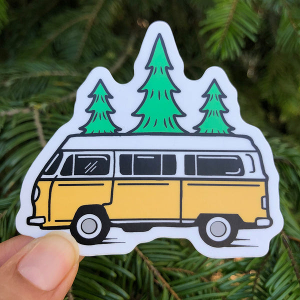 Bus And Trees Printed Sticker