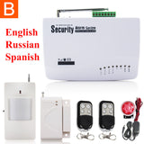 GSM01 Wireless/wired Phone SIM GSM Home Burglar Security GSM Alarm System English Russian Spansih Voice Prompt Alarm Sensor kit