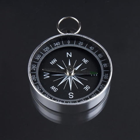 1pc Mini Camping or Hiking Compass - Lightweight Aluminium Compass Navigation, Survival Tool in Black