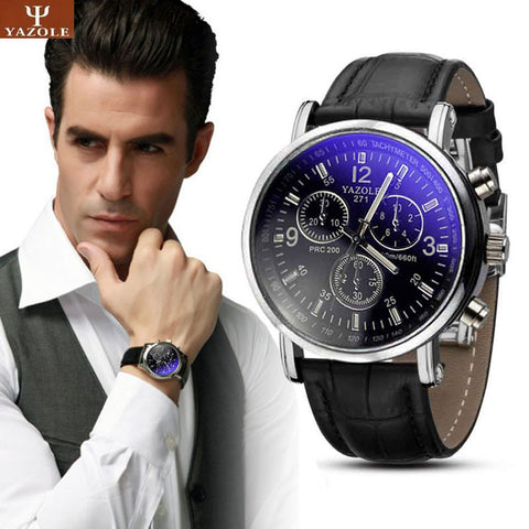 $$$SAVE$$$ Fashion Faux Leather Mens Analog Quarts Watch Blue Ray Men Wrist Watches 2017 Mens Watches Top Brand Luxury Casual Watch Man